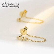 eManc Korean Aesthetic Earring Stainless Steel Earrings for women Drop Dangle Boho Earrings Women Fashion Jewelry 2020 Wholesale