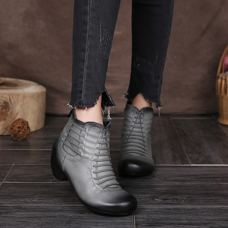 ФОТО Promotion cheap women boots round toe winter boots rough heels vintage handmade women ankle shoes genuine leather