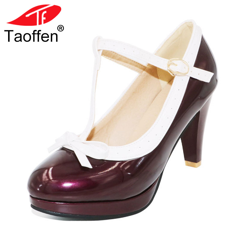 TAOFFEN Size 32-48 Women Retro Shoes Women's High Heel Pumps Sexy T Strap Summer Shoes Party Wedding Lady Heeled Shoes Footwear taoffen women high heels shoes women thin heeled pumps round toe shoes women platform weeding party sexy footwear size 34 39