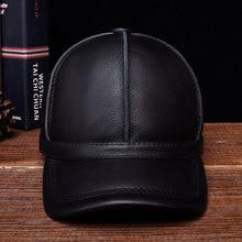 HL028 genuine leather men baseball cap hat new brand mens real adult solid adjustable caps/hats