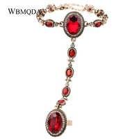 Big Red Glas Stein Finger Ring Armband Indischen Antiken Gold Kristall Hand Harness Armbänder Für Frauen Hochzeit Jewery