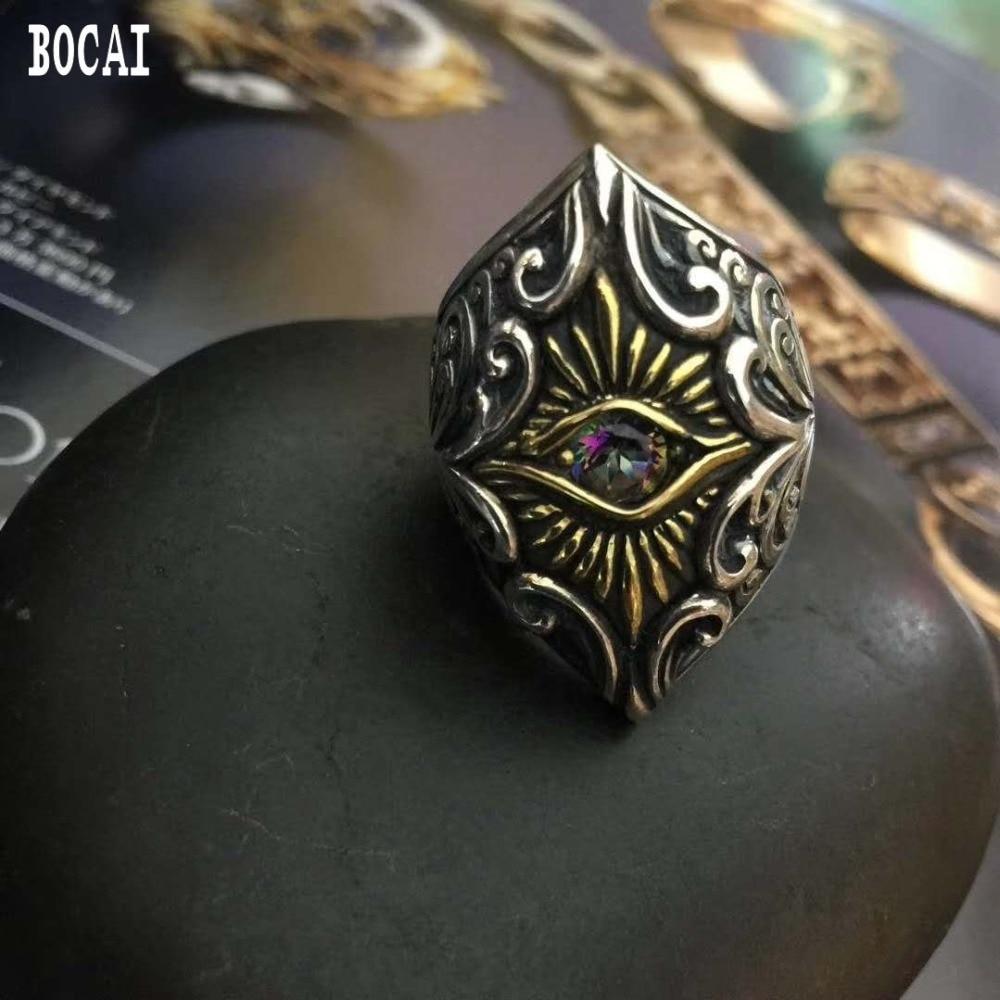 925 чистый тайское серебро открытие Ангел глаз человека кольцо набор с натуральным цветными камнями