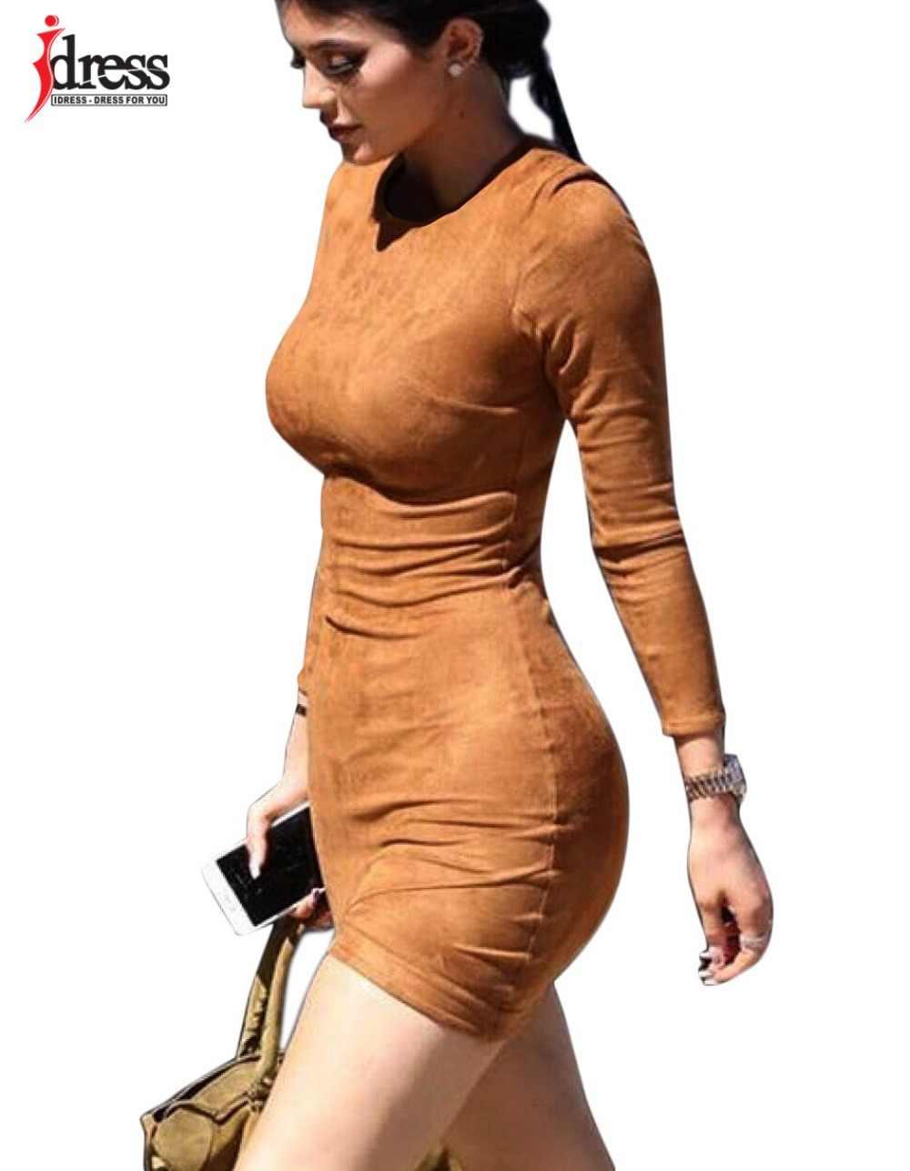 IDress 2017 серый/коричневые из искусственной замши Платье облегающее вечерние платье женская одежда сексуальное Клубное платье на завязках с длинным рукавом, осень-зима платье