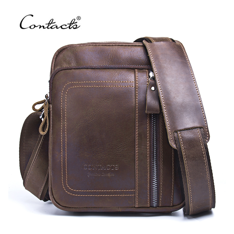 CONTACT'S Genuine Leather Men Bag Male Messenger Bag Man Casual Tote Shoulder Crossbody Bags Handbags For Men 2018 New Design herald fashion genuine leather messenger bag for women tassel shoulder bags casual brand tote bag handbags new design shell bag