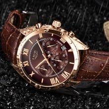 LIGE Uhr Für Männer Top Marke Luxus Wasserdichte 24 Stunde Datum Quarz Uhr Braun Leder Sport Armbanduhr Relogio Masculino 2020