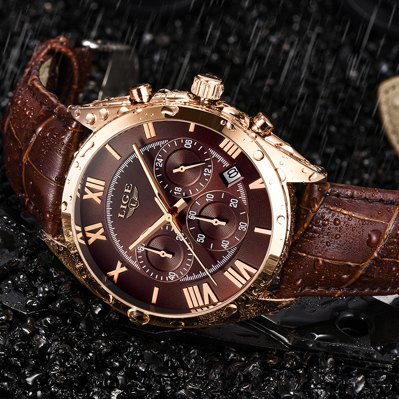 LIGE Watch For Men Top Brand Luxury Waterproof 24 Hour Date Quartz Clock Brown Leather Sports WristWatch Relogio Masculino 2020(China)
