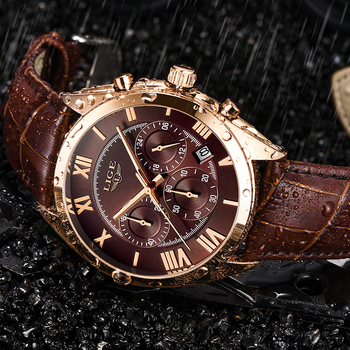 LIGE Watch For Men Top Brand Luxury Waterproof 24 Hour Date Quartz Clock Brown Leather Sports WristWatch Relogio Masculino 2021