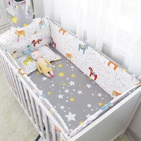 6pcs/set Little Rocking Horse Big Crown Crib Headrest and Around Bed Bumpers Baby Crib Bedding Set Include Bumper Sheet Pillow