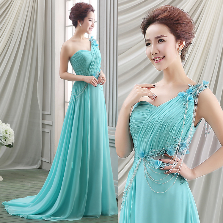 romantic wedding chiffon dress teal wedding dress one shoulder with sweep wedding party gown western bridal