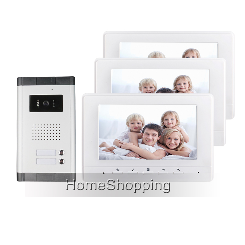 FREE SHIPPING Brand 7 Color Video Door Phone Intercom System 3 Monitors+ 1 HD Doorbell Camera for 2 Family Apartment Wholesale brand new apartment intercom entry system 2 monitors wired 7 color video door phone intercom system for 2 house free shipping