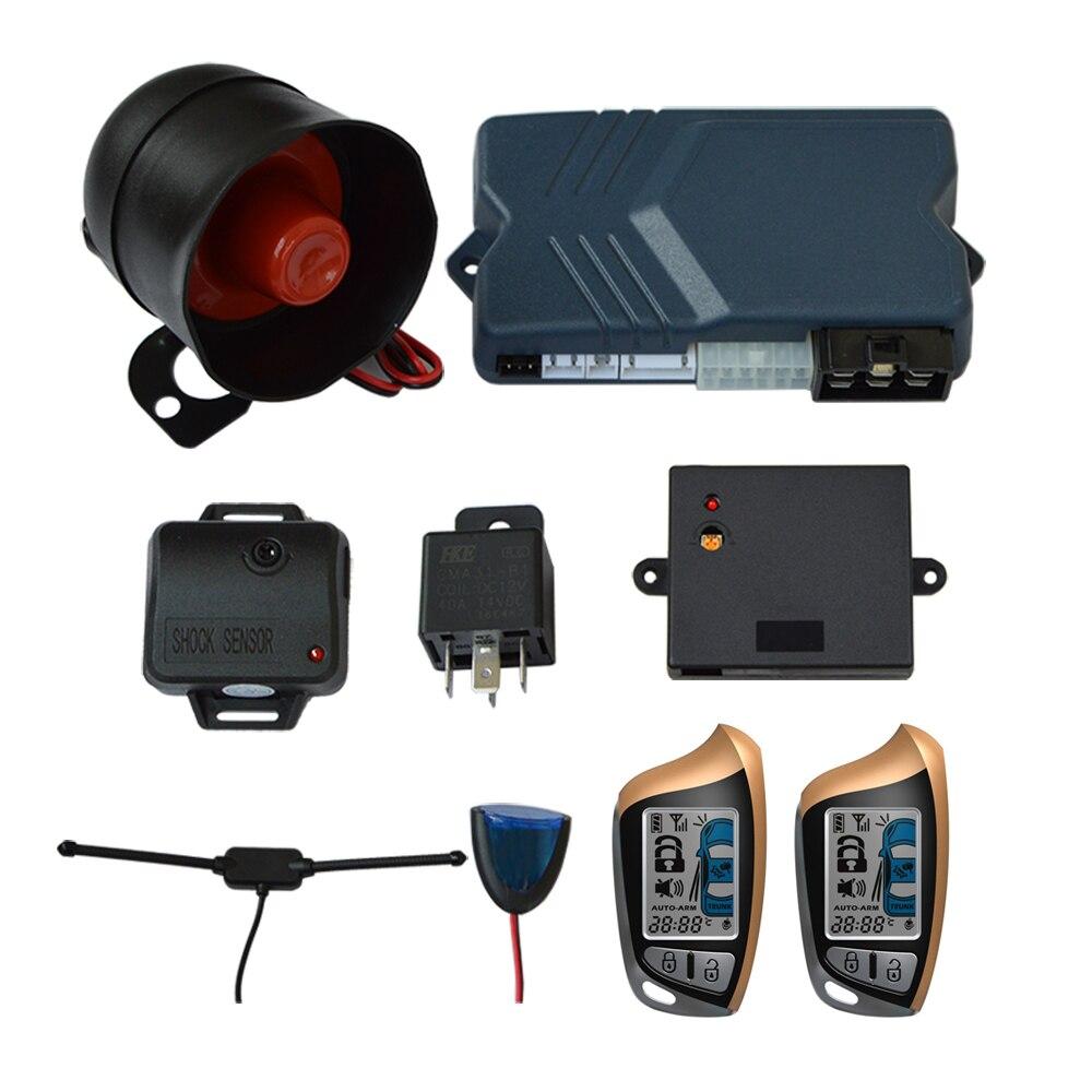 Deux 2 Façon LCD Démarreur À Distance Alarme De Voiture Système de Sécurité avec Verrouillage Central porte De Verrouillage Du Coffre starline