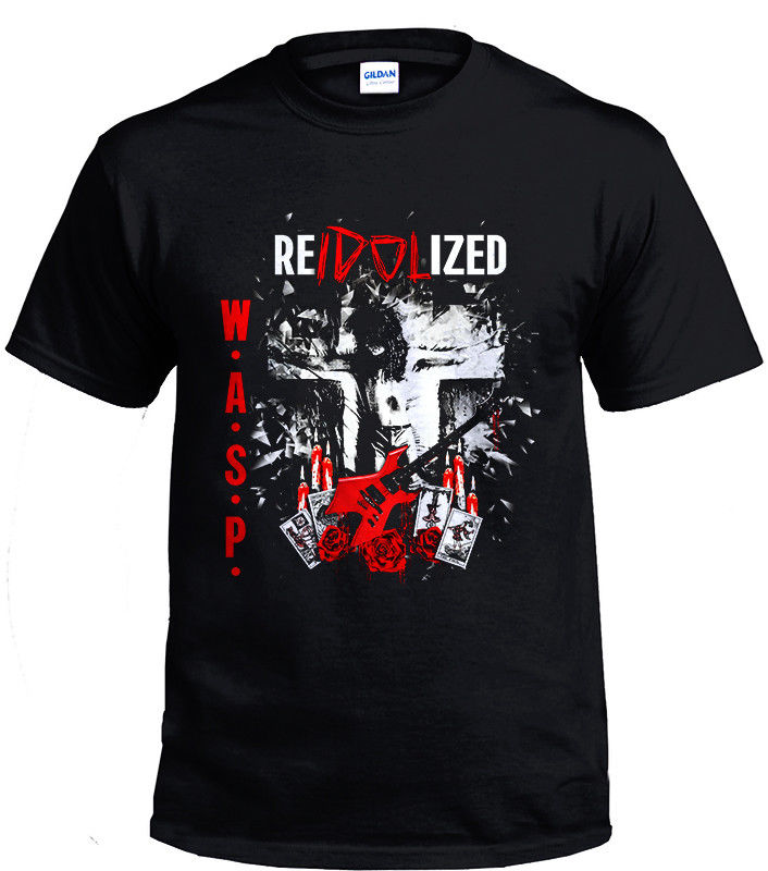 W.A.S.P. BAND HEAVY METAL VINTAGE RETRO black Men T-shirt size S-3XL Brand Cotton Men Clothing Male Slim Fit T Shirts