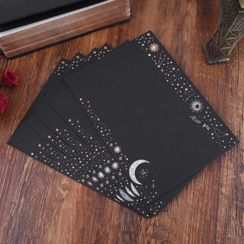 6pcs/pack Starry Sky Writing Letter Envelope Romantic Creative Small Fresh Japanese Style Letter Bag Black/White C26