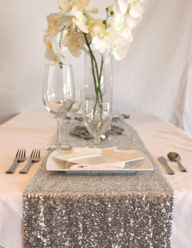 Sparkling Sequin Table Runner in Silver 15 Wide by 108
