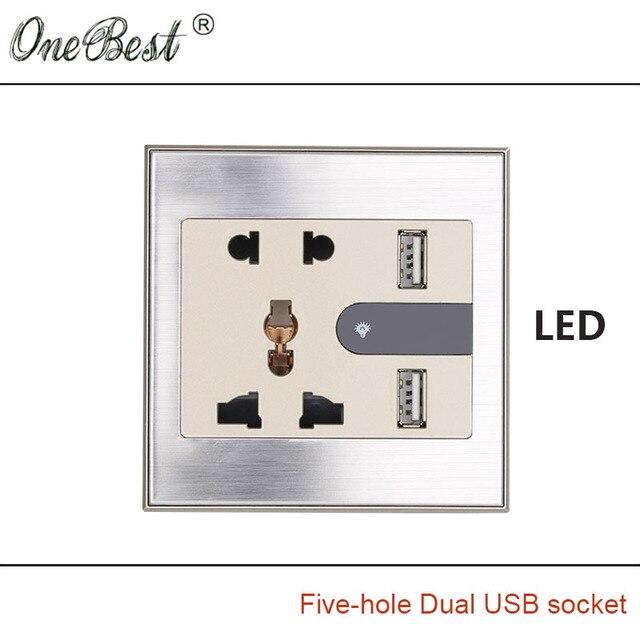 Международный Общий 86 Типа 5-отверстие Розетки С LED AC 110-250 В Два USB 5 В 2100mA Шампанское Волочения Проволоки Выход Горячей продажа