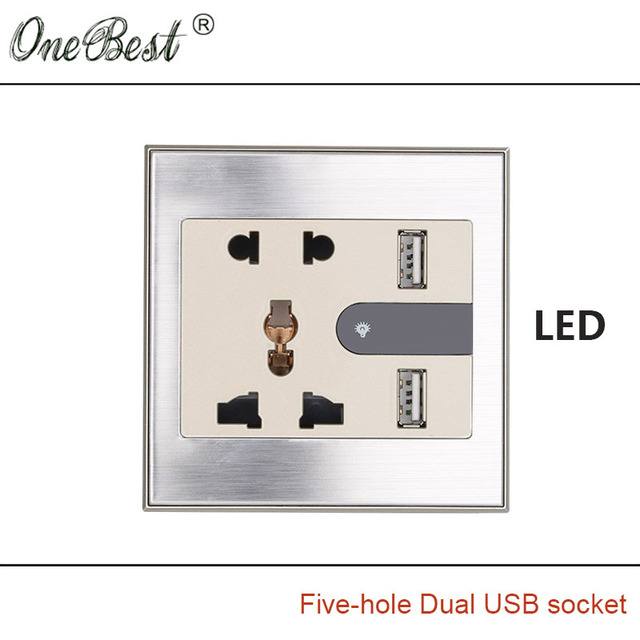 International General 86 Type 5-hole Wall Socket With LED AC 110-250V  Two USB 5V 2100mA Champagne Wire Drawing Outlet Hot sale