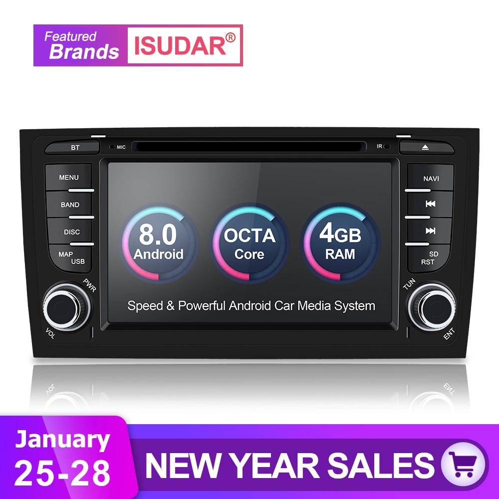 Isudar Voiture Multimédia Lecteur Système Radio Deux Din Android 8.0 Stéréo De Voiture Pour Audi/A6/S6/RS6 GPS RAM 4 gb DSP USB DVR OBD2 FM