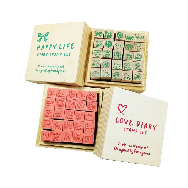 4 Set/pack Wooden Box Lovely Diary Stamp Rubber Cute DIY Writing Scrapbooking Stamp Gift Clear Stamps For Scrapbooking Wholesale