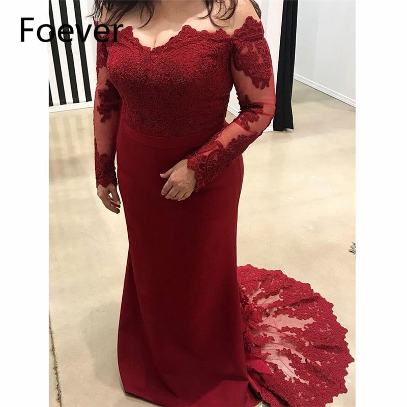 2019 Burgundy Mermaid Off Shoulder Evening Dresses Long Sleeve Vestido de festa Elastic Satin Formal Evening Party Dress