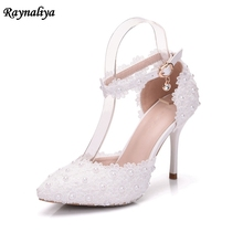 Womens Flower Platforms Thin High Heels Party Wedding Bride Shoes Woman White Ladies Summer Sandals Plus Size Handmade XY-A0088 white lace flower flat heel wedding flats shoes woman bride bridal handmade plus size 41 42 43 beading pearls party shoe hs312