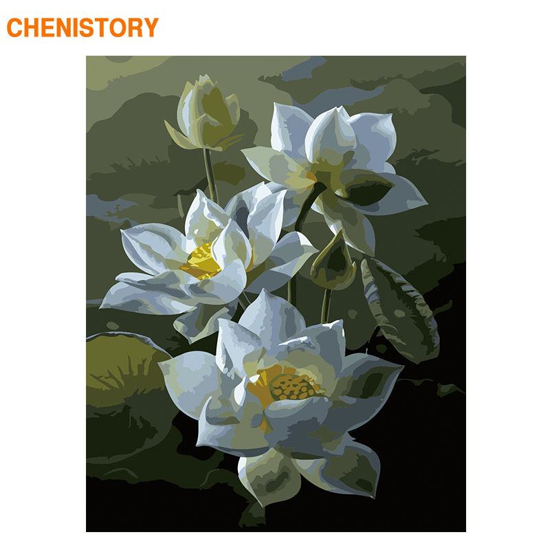 Chenistory Frame White Lotus Flower Diy Painting By Numbers Modern Calligraphy Painting Drawing By Numbers For Home Wall Artwork Paint By Number Aliexpress