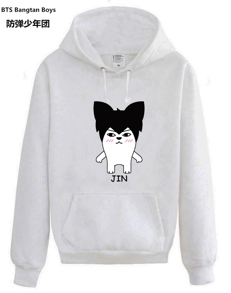NEW kpop BTS Bangtan Boys Cartoon hooded Hoodies men and women Spring and Autumn Pullover jacket Loose k-pop BTS Sweatshirts
