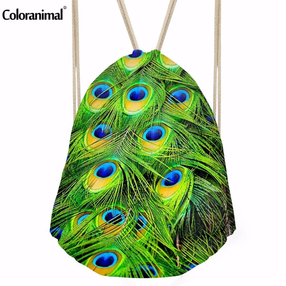 Coloranimal Vivid Peacock Feather Drawstring Bags Women Boys Male Tote String Shoulder Backpacks Small Kids Girls School Bags