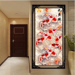 Image 2 - QIANZEHUI ، لتقوم بها بنفسك 5D تسعة الأسماك مشهد التطريز ، الجولة الماس الكامل حجر الراين ألواح تلوين حرفية لامعة غرزة ، الإبرة
