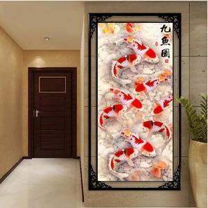 Image 2 - QIANZEHUI, bricolage 5D neuf poisson paysage broderie, diamant rond plein strass diamant peinture point de croix, couture