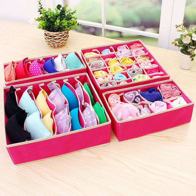 4PCS Underwear Bra Organizer Storage Box 2 Colors Beige/Rose Drawer Closet Organizers Boxes For Underwear Scarfs Socks Bra ...