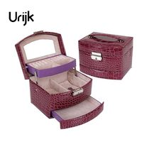 Urijk Pink Crocodile Pattern Automatic Jewelry Box Leather Exquisite Three Layer Storage Box For Girls Women