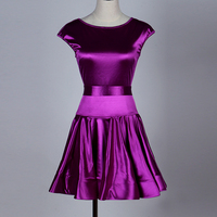 Comfort Latin Dancing Dresses For Ladies Purple Color Silk Present Skirts Woman Square Flamenco Stage Ballroom
