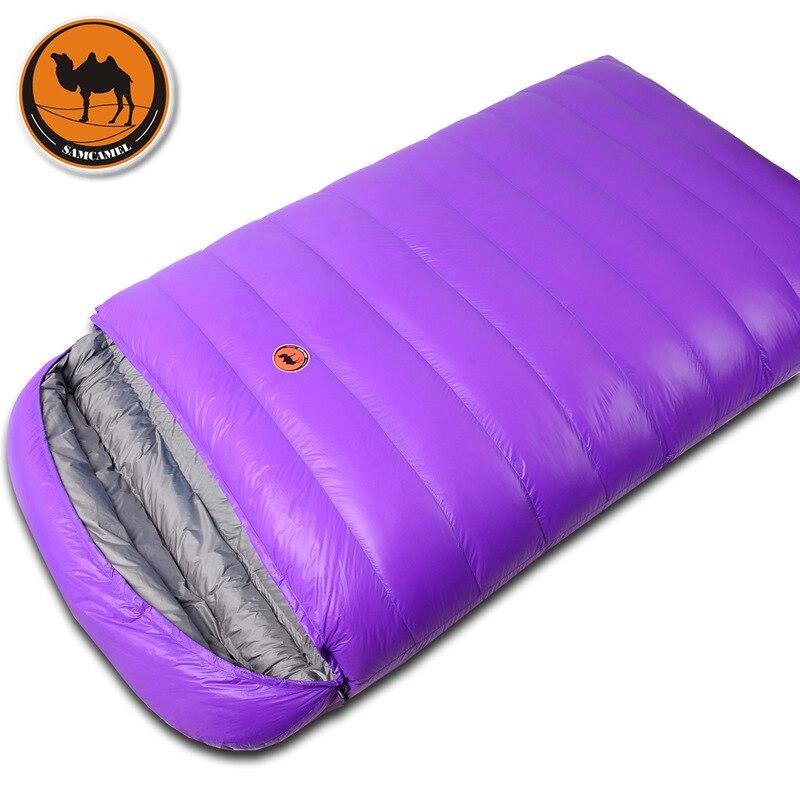 Samcamel CS108 couple ultra-léger camping double sac de couchage hiver automne enveloppe duvet de canard à double sac de couchage avec 2 couleurs