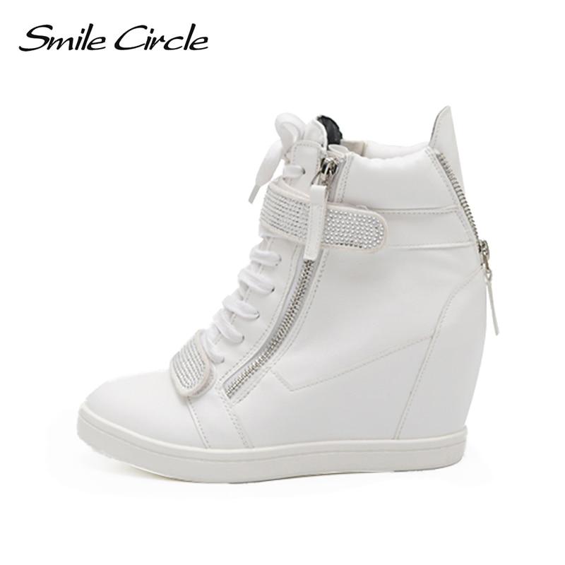 Smile Circle cuñas zapatillas de deporte para mujer zapatos de plataforma de tacón alto de cuero PU de moda Zapatillas de deporte casuales de alta calidad SANDALIAS ARMONIAS PLATAFORMA