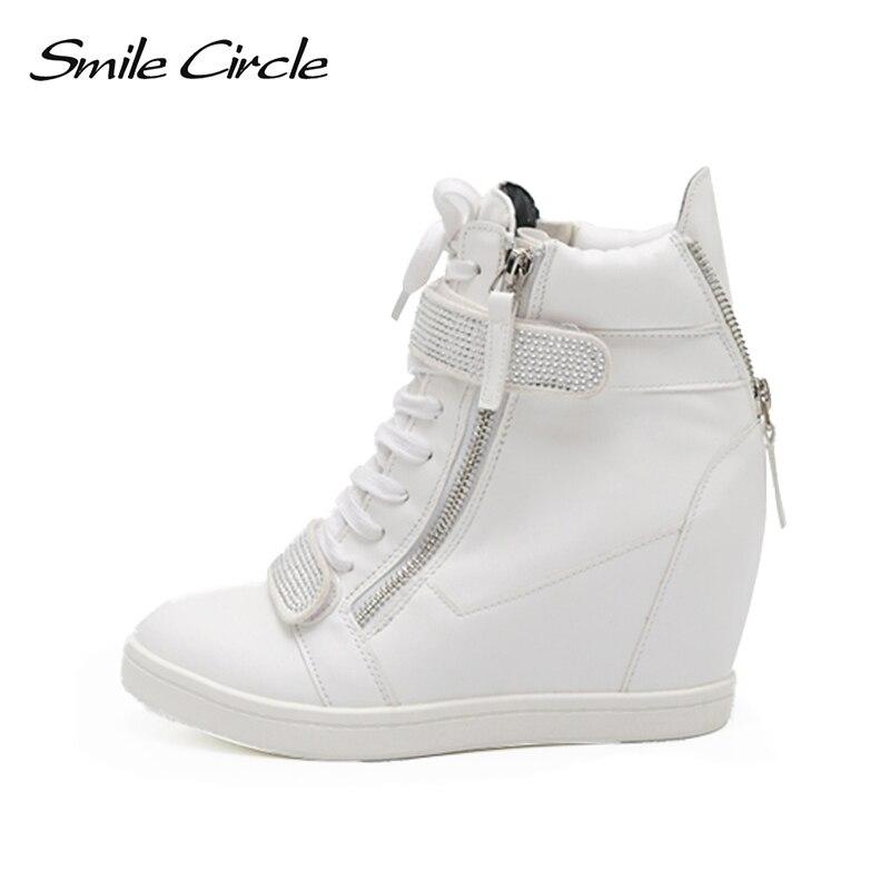 Sourire Cercle Coins Sneakers Femmes Haut talon Plate-Forme Chaussures Mode PU en cuir de Haute-top Casual sneakers