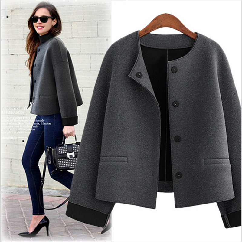 AILOOGE   Basic     Jacket   2017 Free Shipping Slim New Women Fashion   Jacket   Short Wool Coat All-match Chaquetas Mujer