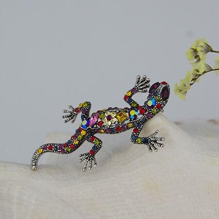 WXJCAN brand Lifelike lizard brooch Metal inlay much gold-yellow rhinestone animal brooch 70mm*35mm B5121