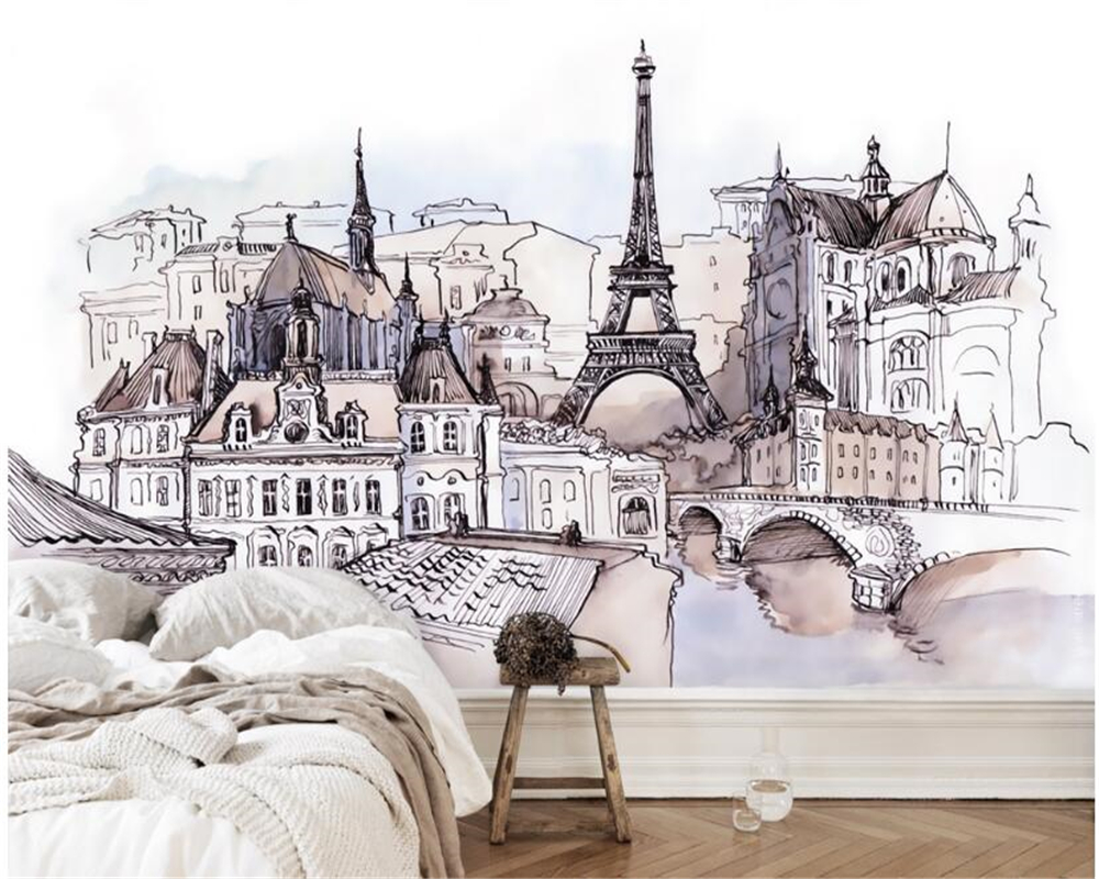 Beibehang European Hand-painted Foreign Tourism Fashion Stickers Tower Watercolor Mural Papier Peint Decoration Wallpaper Behang