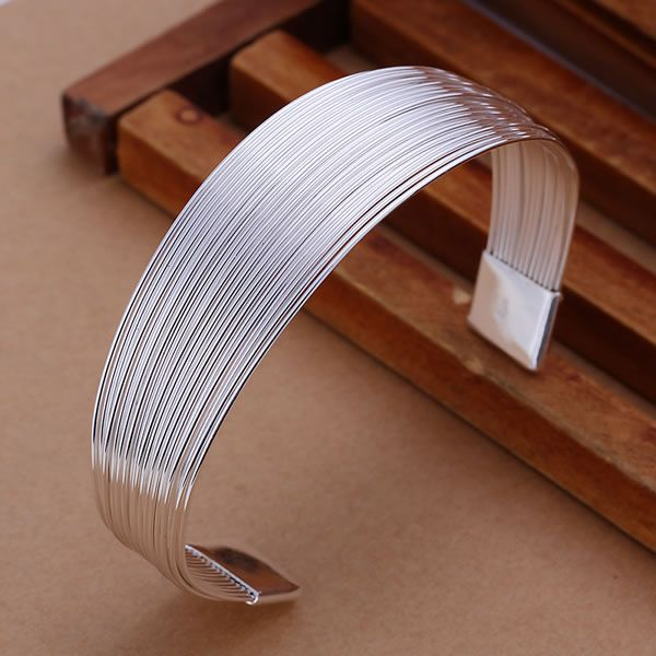 Pretty Silver Plated Multiple Line Bracelets Wholesale 925 Free Shipping Charm Christmas Gifts Fashion Jewelry Bangle KN-B023