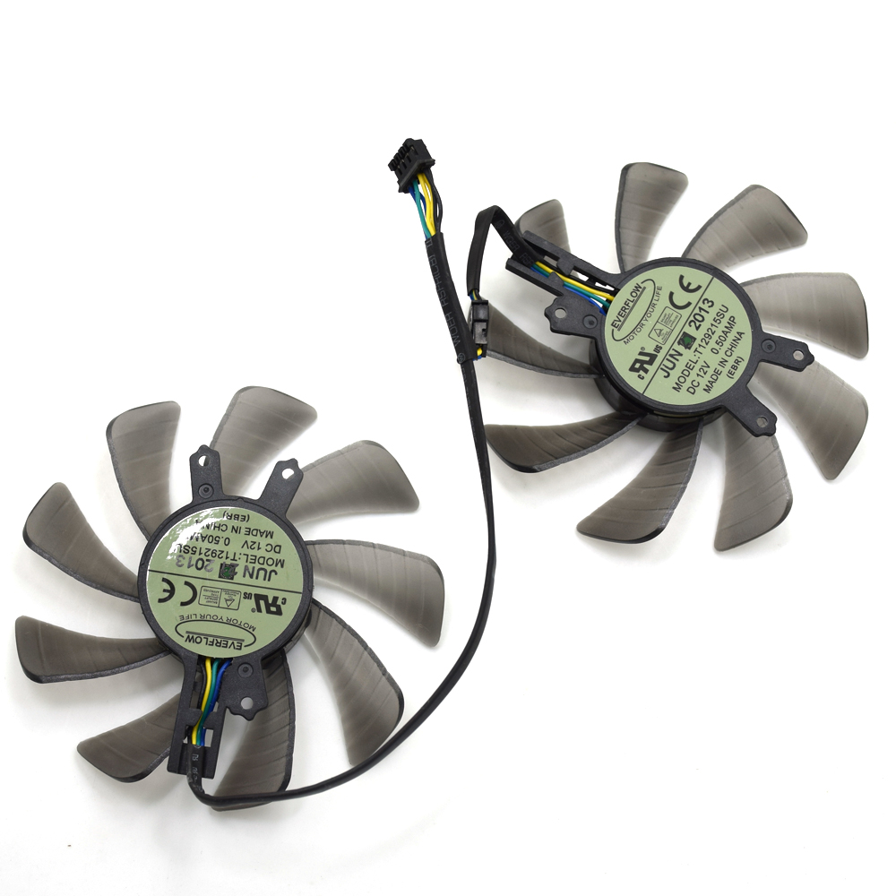 Everflow T129215SU 85MM DC 12V 0.50A Graphics Card Cooling Fan For ASUS GTX460 HD6790 GTX650Ti Video Card Cooler Fans 9cm fan large area heat sink for nvidia for ati graphics cooler video card coolers graphics cooling pccooler k91