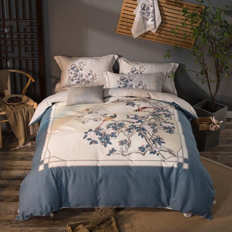 100% Coton Doux Lit kit linge Paon Impression Chinois ensembles de Literie Roi Reine Taille 4 pcs housse de Couette Floral Bohême drap de lit ensemble