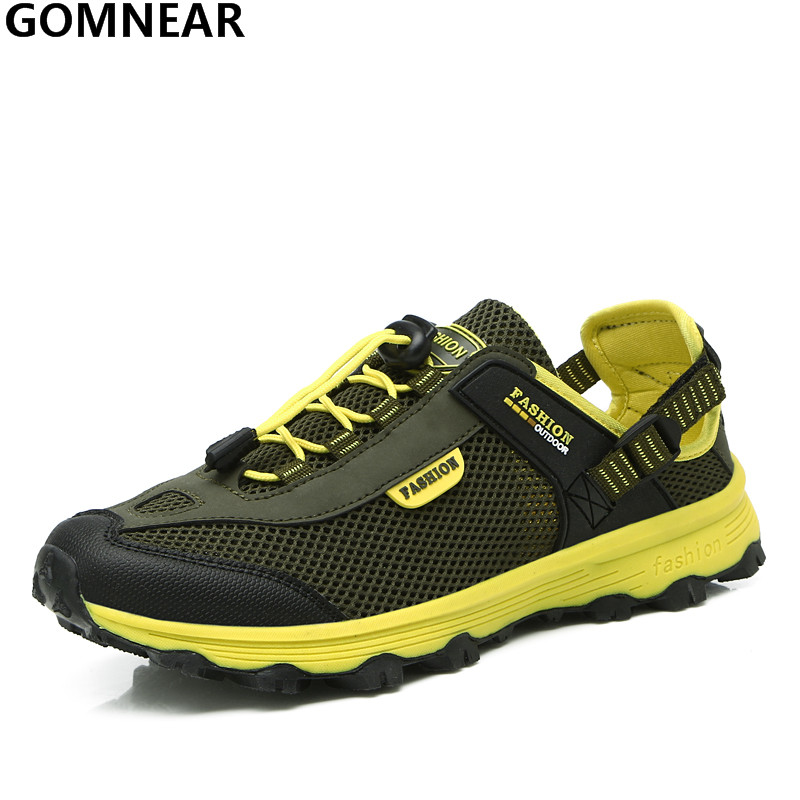 GOMNEAR Men's Breathable Wading Shoes Outdoor Antiskid Walking Upstream Shoes Man Lightweight Water Shoes Men Training Sneakers 2017 clorts new upstream shoes for men breathable fast drying wading sneakers outdoor shoes 3h023c