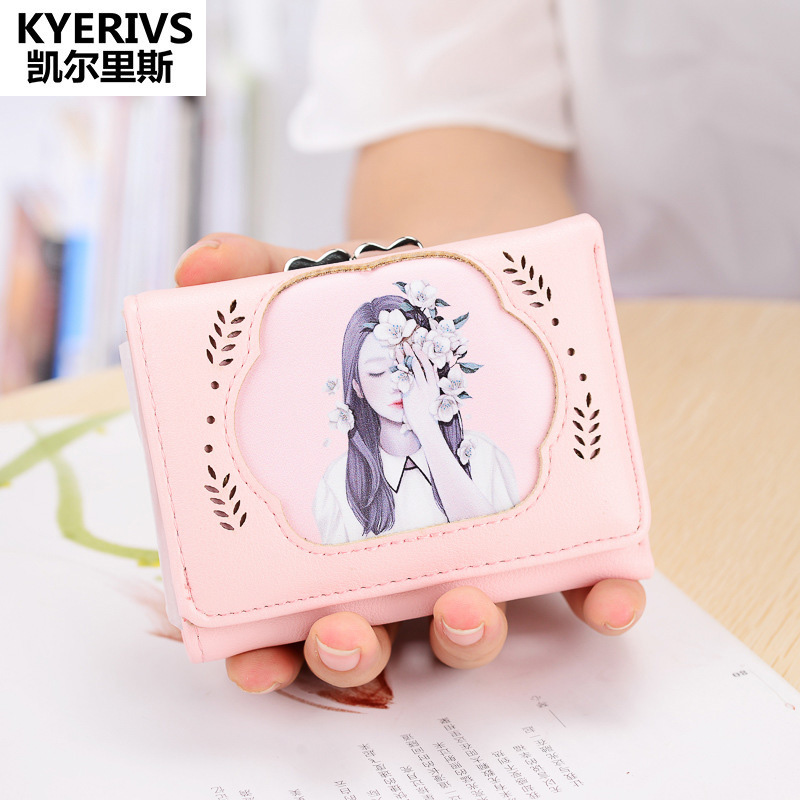 Fashion Pu Leather Wallet Woman Short ID Card Holder Wallets Women Purse cute Small Wallet Female Brand Coin Purse Money Bag dollar price women cute cat small wallet zipper wallet brand designed pu leather women coin purse female wallet card holder