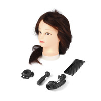 1 Set 26 Inch Dark Brown Training Mannequin Head Hairdressers Dummy Hairstyles Long Hair Dolls Mannequin