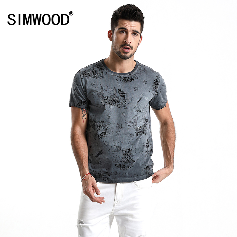 SIMWOOD 2019 Summer   T  -  Shirt   Men 100% Pure Cotton Short Sleeve Carp/Animal Printed Fashion Casual Tops Brand Clothing 180041