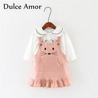 Dulce Amor Girls Dress Set 2017 Autumn 2PCS Set Baby Girl Clothes Cotton Long Sleeve Pullover