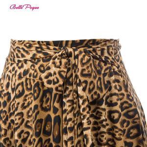 Image 2 - Belle Poque Leopard Print High Waist Skirt Pleated Midi Women Autumn Winter Flared Skirt Fashion Bow Party Skirt Gothic Vintage
