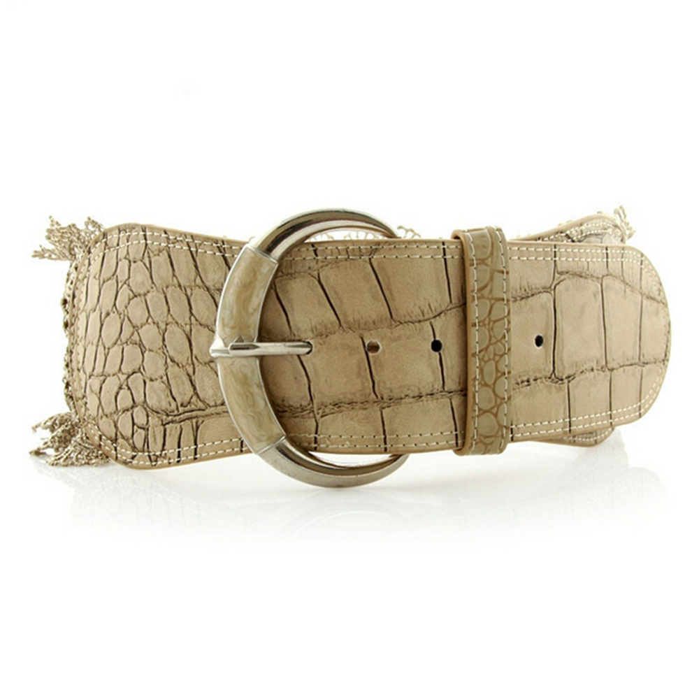 Fashion Women's Elastic Waist Belt Corset Faux Leather Lace Stretch Waistband Wide Needle Buckle Cummerbunds White Color