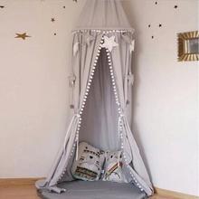 Детский навес для детской кровати с шаром и кисточкой, детская подвесная Игровая палатка для детской кроватки, декор для комнаты, Круглый висящий купол, москитная сетка