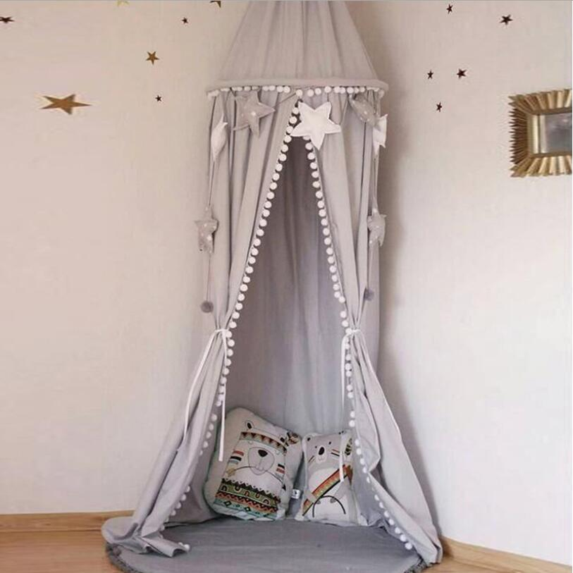 Child Canopy kids Bed Canopy with Ball Tassel Baby Hanging Play game Tent Crib Room Decor Round Hung Dome Mosquito Net Накомарник
